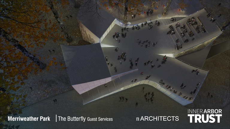 Architectural rendering of the Butterfly, view from above