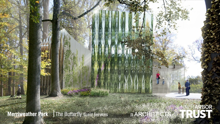 Architectural rendering of the Butterfly, westerly view