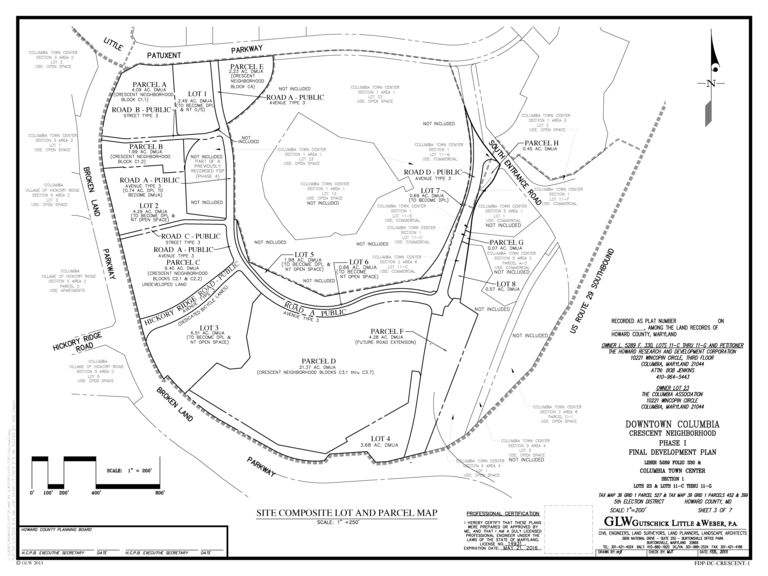 A map of the parcels and lots comprising the parts of the Crescent neighborhood covered by FDP-DC-Crescent-1.