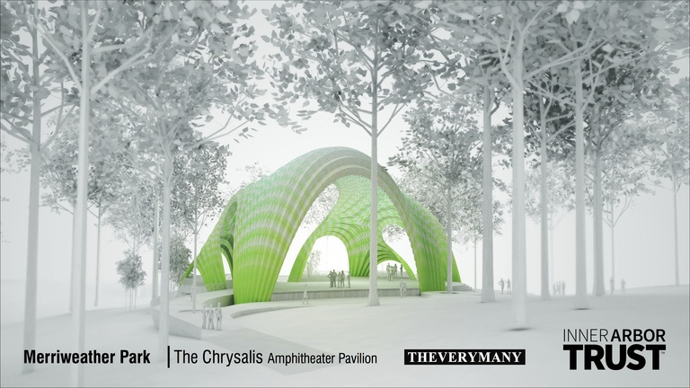 Architectural rendering of the Chrysalis, viewed from a distance