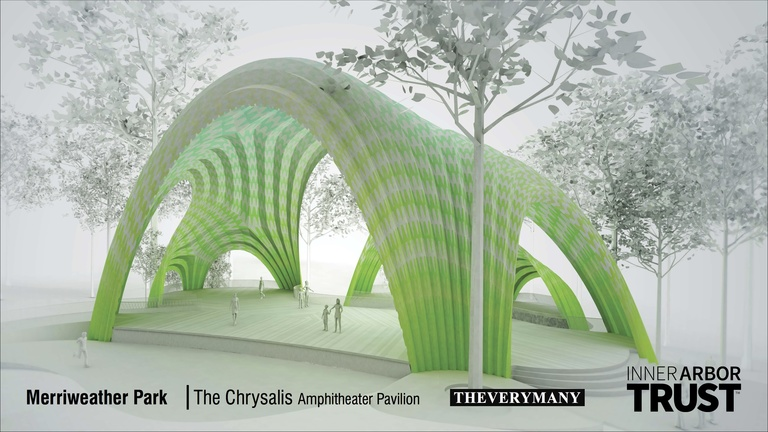 Architectural rendering of the Chrysalis, exterior view
