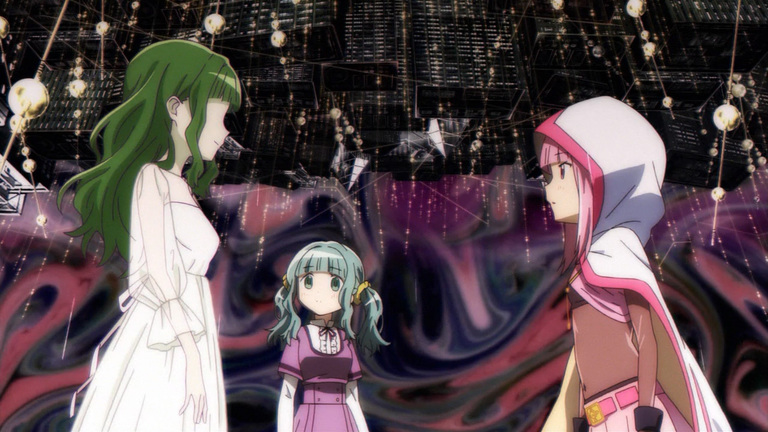 Image of Ai, the Rumor of the Anonymous AI of Magia Record, confronted by Iroha as Sana looks on