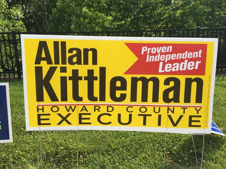 Allan Kittleman campaign sign, 2018 elections