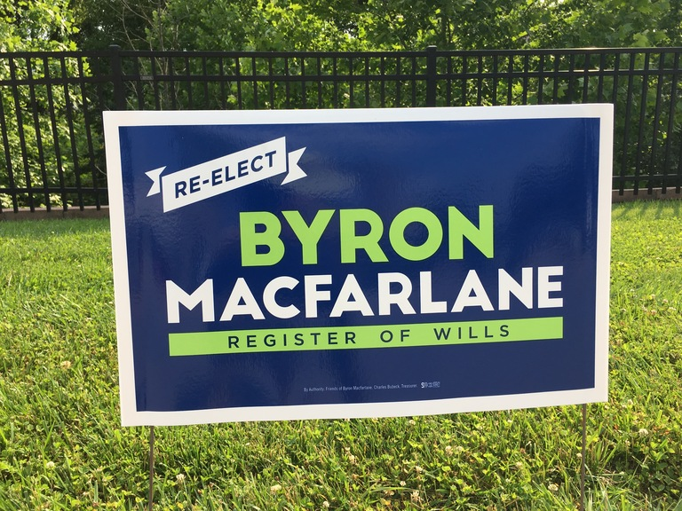 Byron Macfarlane campaign sign, 2018 elections
