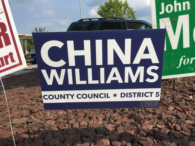 China Williams campaign sign, 2018 elections