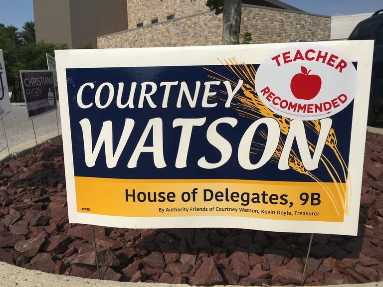 Courtney Watson small campaign sign, 2018 elections