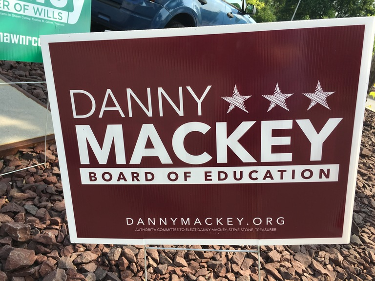 Danny Mackey small campaign sign, 2018 elections
