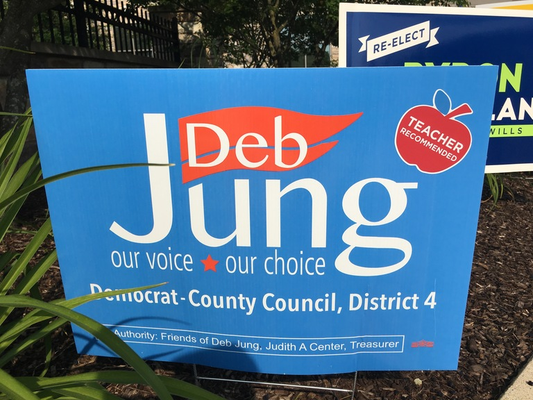 Deb Jung small campaign sign, 2018 elections