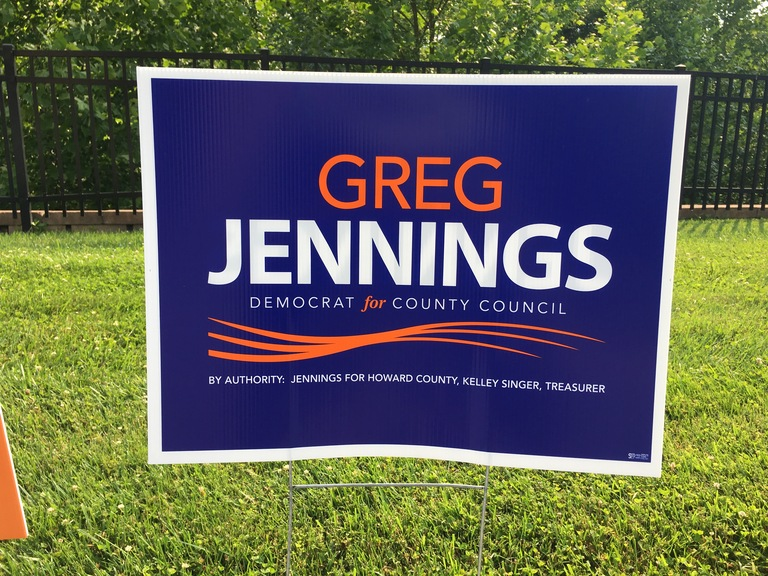 Greg Jennings small campaign sign, 2018 elections