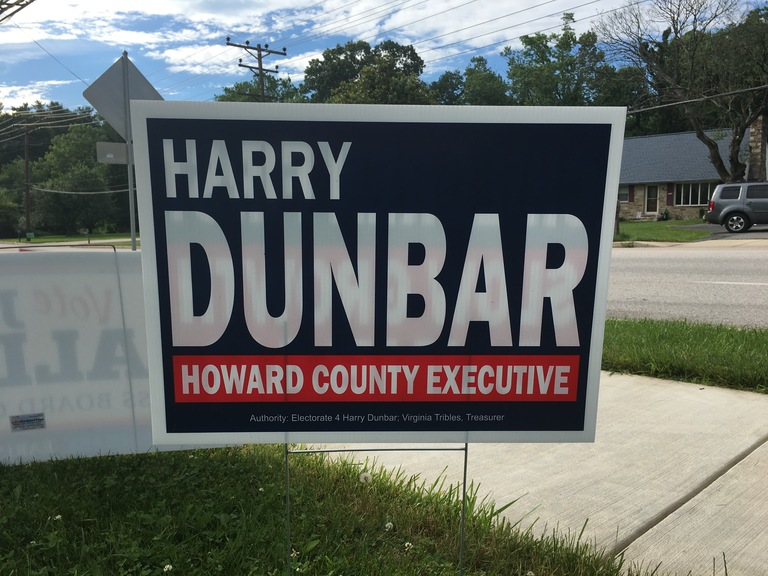 Harry Dunbar small campaign sign, 2018 elections
