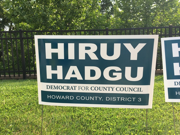 Hiruy Hadgu campaign sign, 2018 elections