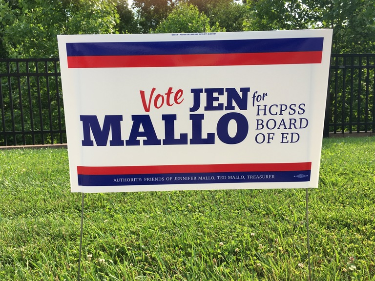 Jen Mallo small campaign sign, 2018 elections