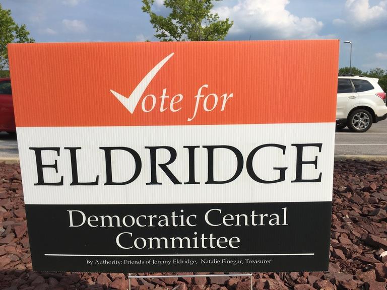 Jeremy Eldridge campaign sign, 2018 elections