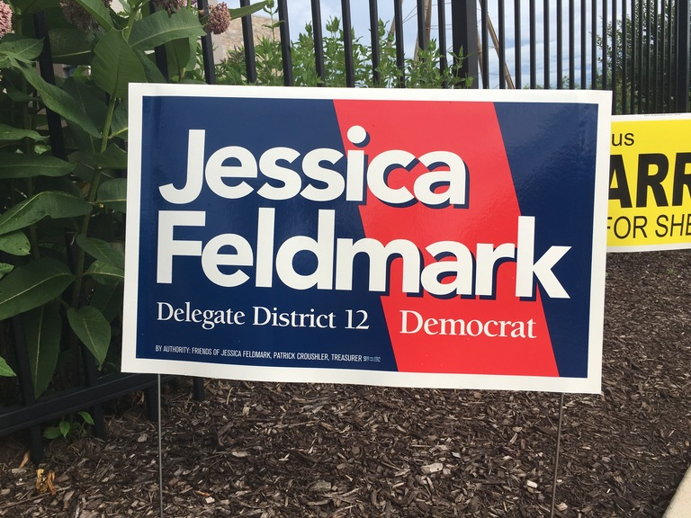 Jessica Feldmark campaign sign, 2018 elections