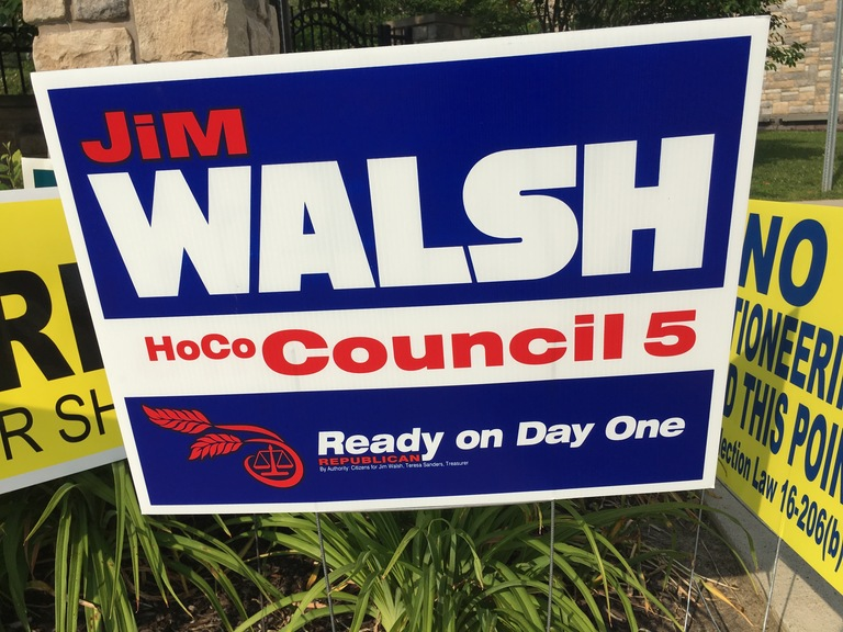 Jim Walsh small campaign sign, 2018 elections