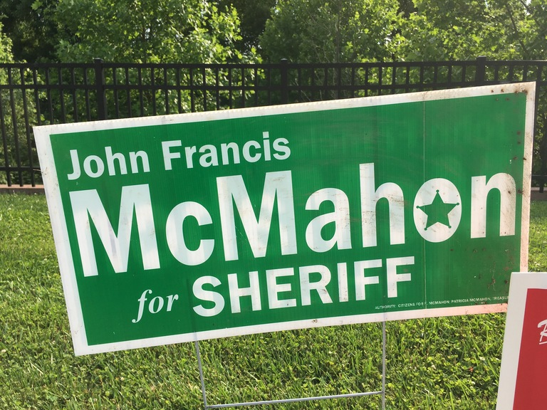 John Francis McMahon campaign sign, 2018 elections