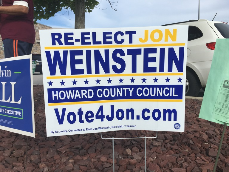 Jon Weinstein small campaign sign, 2018 elections