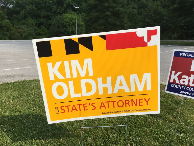 Kim Oldham small campaign sign, 2018 elections