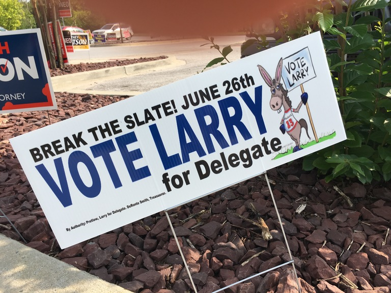 Larry Pretlow small campaign sign, 2018 elections