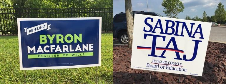 Byron Macfarlane's and Sabina Taj's campaign signs, 2018 elections