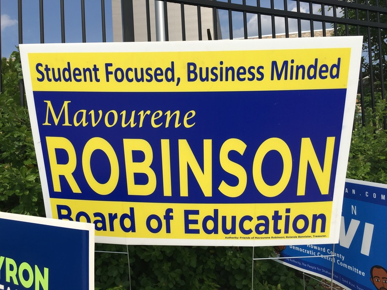 Mavourene Robinson small campaign sign, 2018 elections