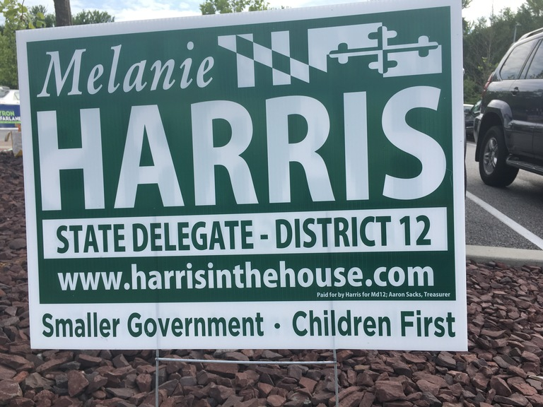Melanie Harris small campaign sign, 2018 elections