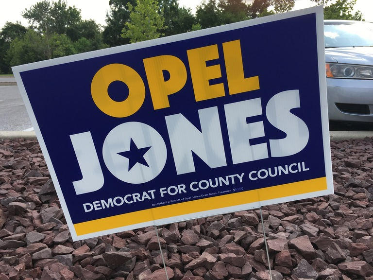 Open Jones campaign sign, 2018 elections