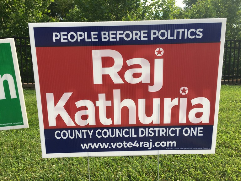 Raj Kathuria small campaign sign, 2018 elections