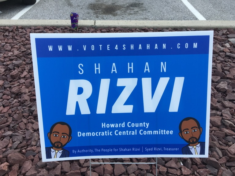 Shahan Rizvi small campaign sign, 2018 elections