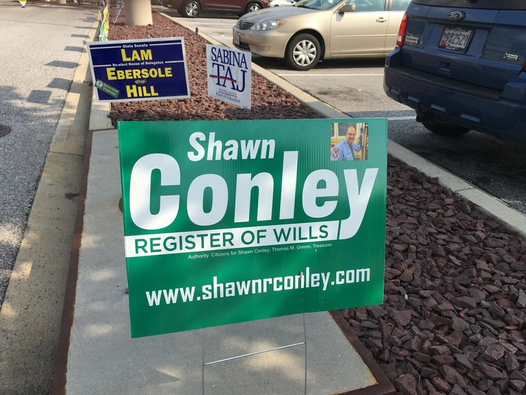 Shawn Conley small campaign sign, 2018 elections