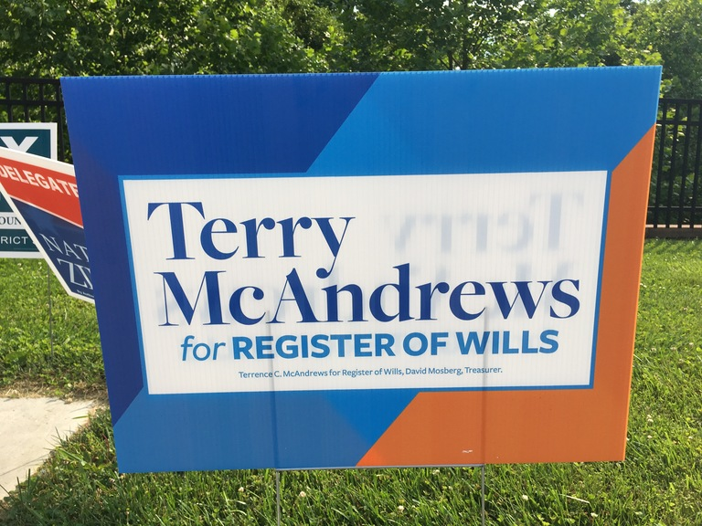 Terry McAndrews small campaign sign, 2018 elections