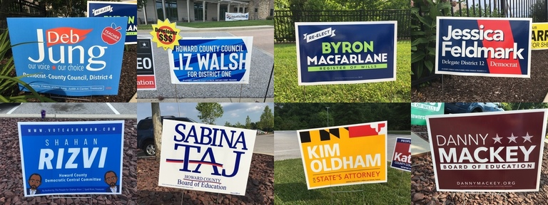 Howard County 2018 campaign signs in the final round of voting