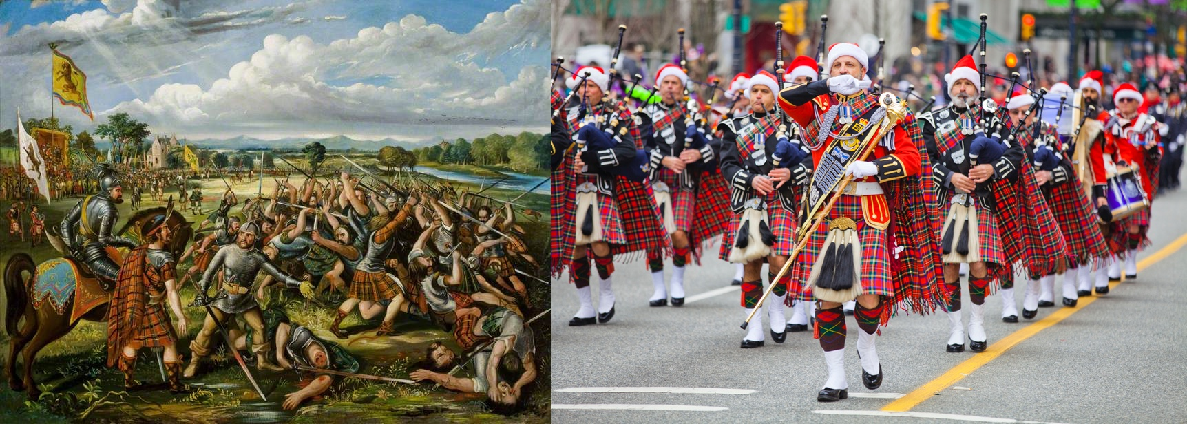 A painting of the Battle of the Clans in 1396 in Perth, Scotland, paired with a picture of marchers in kilts at the 2017 Santa Claus parade in Vancouver, Canada