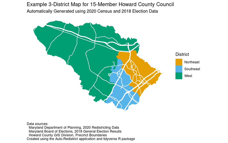 Proposed Howard County Council district map for 15-member council elected in three districts