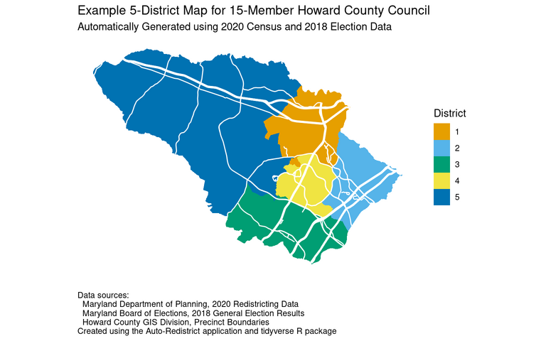Proposed Howard County Council district map for 15-member council elected in five districts
