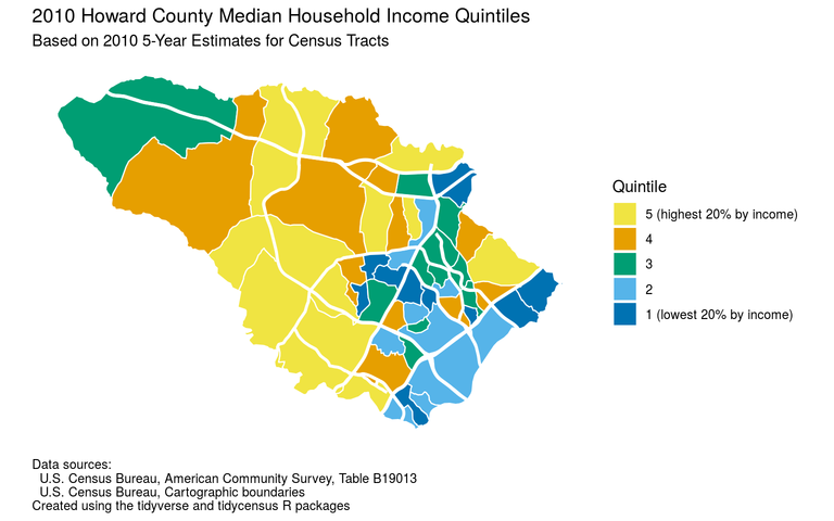 Howard County median household income quintiles for 2006-2010
