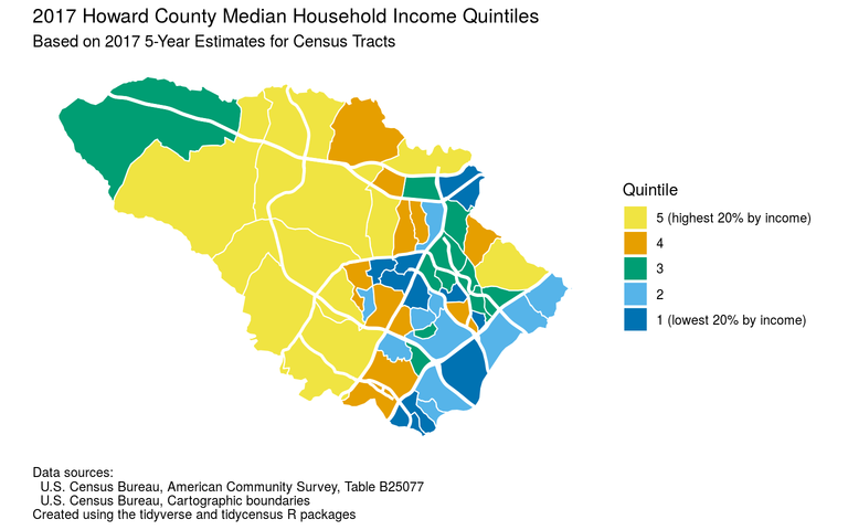 Howard County median household income quintiles for 2013-2017