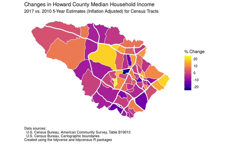 Howard County median household income changes by census tract from 2006-2010 to 2013-2017