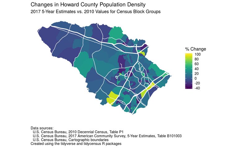 Map of Howard County population density changes based on 2010 census and 2013-2017 ACS estimates