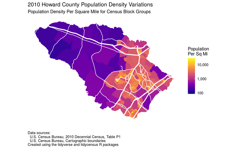Map of Howard County population density based on 2010 census