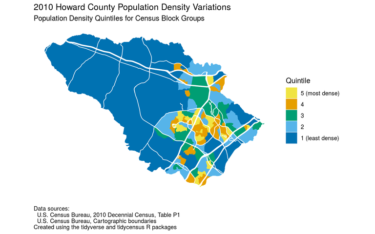 Map of Howard County population density quintiles based on 2010 census