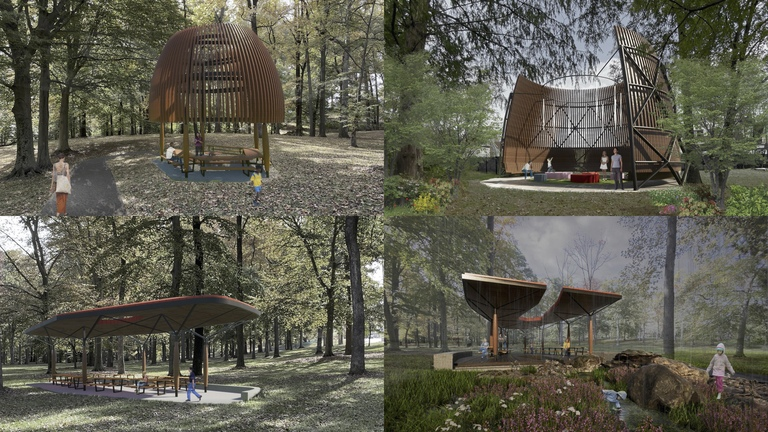 Park structures in the revised concept plan: gazebo, Nest, and east and west pavilions