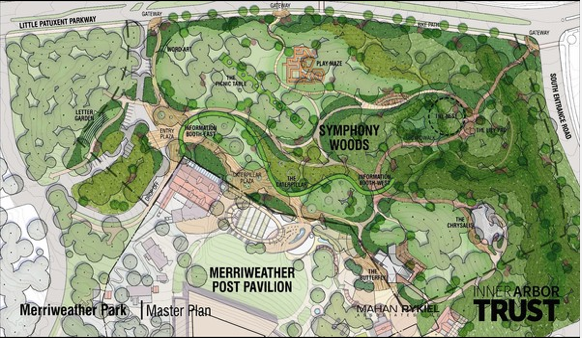Map of the proposed Inner Arbor plan in relation to the surroundings
