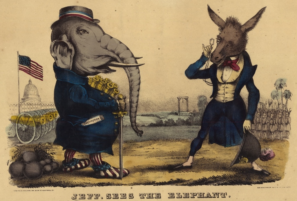Lithograph of Republican elephant and Democratic donkey facing each other during the Civil War