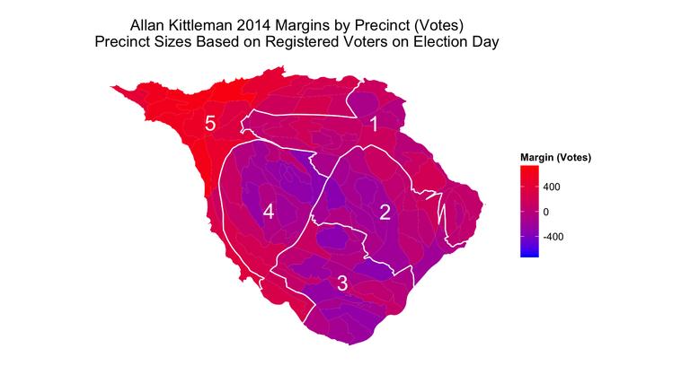 Cartogram of Allan Kittleman victory margins by precinct