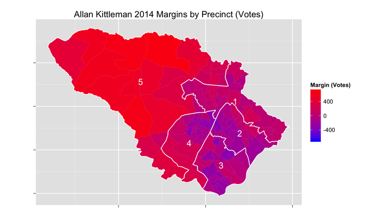 Allan Kittleman's victory margins by precinct.