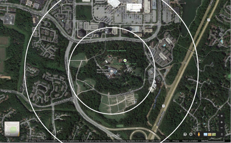Merriweather Post Pavilion and surroundings. The two circles show areas within a quarter mile and half mile of the pavilion. Click for a higher-resolution version.