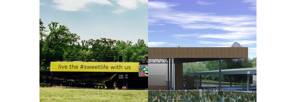 Merriweather Post Pavilion with current and future roofs compared