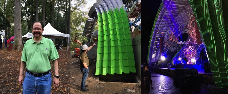Three panel picture showing Michael McCall at the ground-breaking ceremony for the Chrysalis amphitheater, Michael pointing to the newly-installed aluminum panels on the partially-completed Chrysalis, and an evening concert at the Chrysalis, with the structure lighted up
