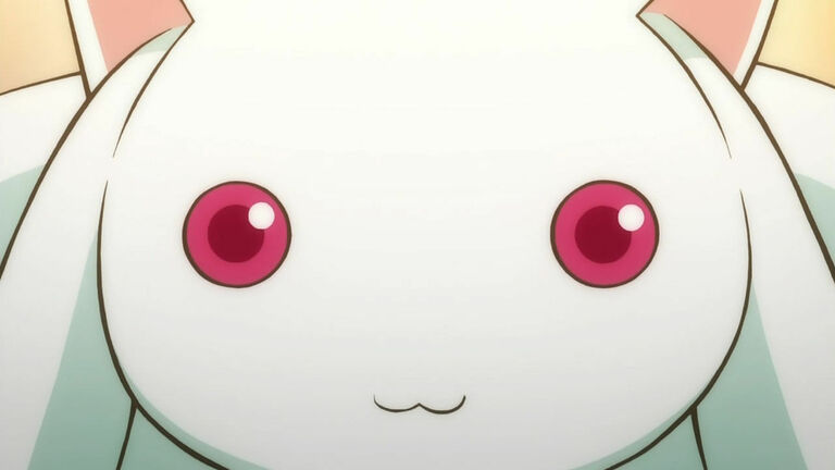 Image of Kyubey from Madoka Magica, focused on his head and his glowing red eyes
